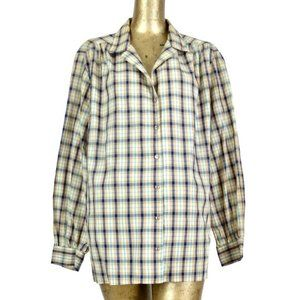 Vintage 70s Western Check Long Sleeve Button Up